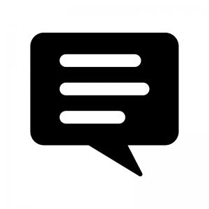 会話・トークの丸い吹き出しの白黒シルエットイラスト04