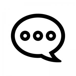 コメント風の丸い吹き出しの白黒シルエットイラスト06
