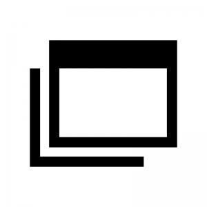 ブラウザ画面などのウインドウの白黒シルエットイラスト