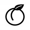 葉っぱ付きの桃の白黒シルエットイラスト03