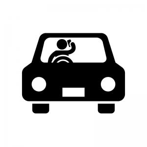 スマホしながら運転の白黒シルエットイラスト