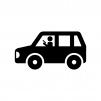 スマホしながら運転の白黒シルエットイラスト02