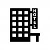 ホテル・宿泊施設の白黒シルエットイラスト02
