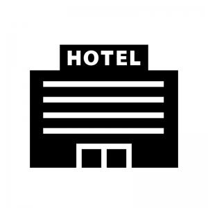 ホテル・宿泊施設の白黒シルエットイラスト03