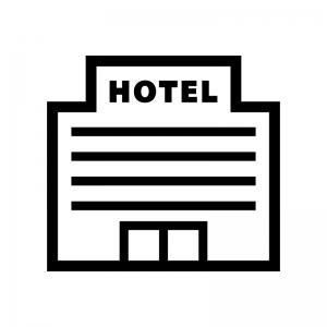 ホテル・宿泊施設の白黒シルエットイラスト04