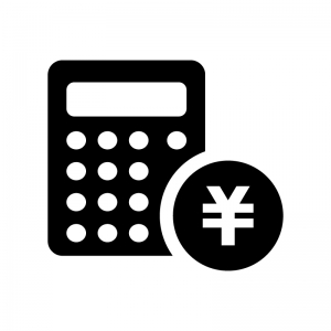 計算機と円コインの白黒シルエットイラスト