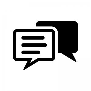 チャット・会話の白黒シルエットイラスト