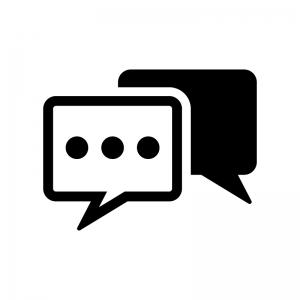 チャット・会話の白黒シルエットイラスト02