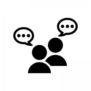 チャット・会話の白黒シルエットイラスト04