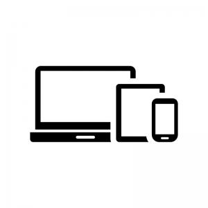 スマホなどのデジタルデバイスの白黒シルエットイラスト02