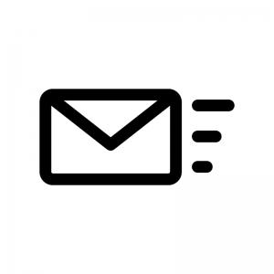 メール送信・受信の白黒シルエットイラスト