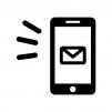 スマホとメール送信・受信のシルエット