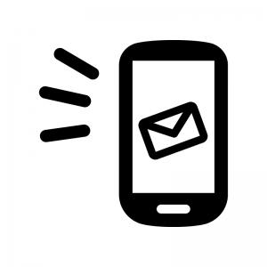 スマホとメール送信・受信の白黒シルエットイラスト02