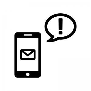 スマホとメール送信・受信の白黒シルエットイラスト03