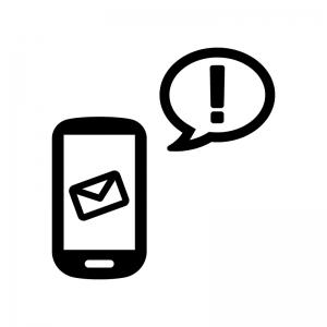 スマホとメール送信・受信の白黒シルエットイラスト04