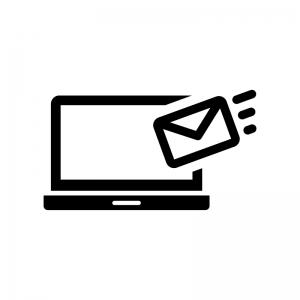 ノートパソコンとメール受信の白黒シルエットイラスト