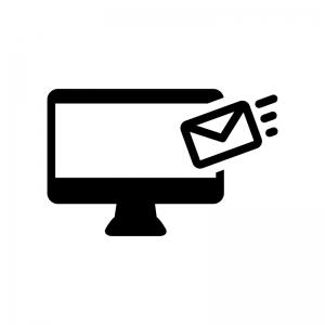 パソコンとメール受信の白黒シルエットイラスト