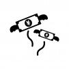 出費でお金が飛んでる白黒シルエットイラスト02