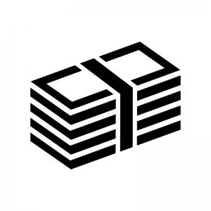 お金・札束の白黒シルエットイラスト