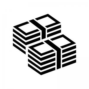 お金・札束の白黒シルエットイラスト02