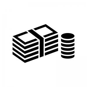 札束とコインの白黒シルエットイラスト