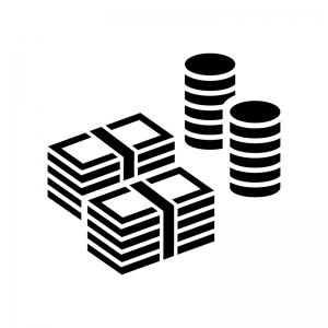 札束とコインの白黒シルエットイラスト02