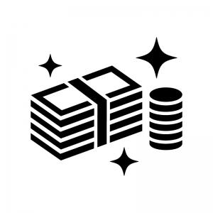 輝いている札束とコインの白黒シルエットイラスト