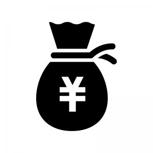 お金の袋のシルエット03 無料のaipng白黒シルエットイラスト
