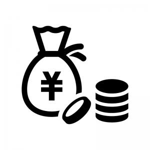 お金の袋とコインの白黒シルエットイラスト