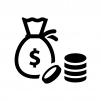 ドル袋とコインの白黒シルエットイラスト