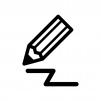 鉛筆で書いている白黒シルエットイラスト