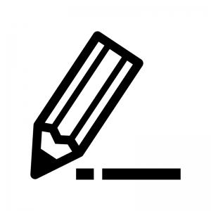 鉛筆で書いている白黒シルエットイラスト02