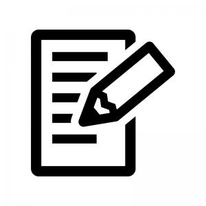 メモとペンの白黒シルエットイラスト02