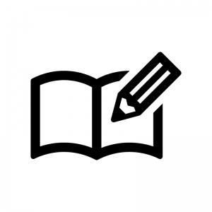 ノートとペンの白黒シルエットイラスト