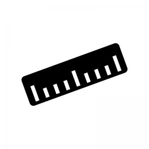 定規・ものさしの白黒シルエットイラスト02