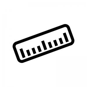 定規・ものさしの白黒シルエットイラスト03