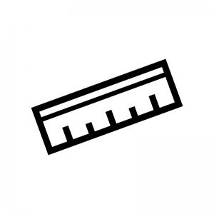 定規・ものさしの白黒シルエットイラスト05