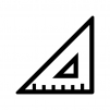 三角定規の白黒シルエットイラスト04