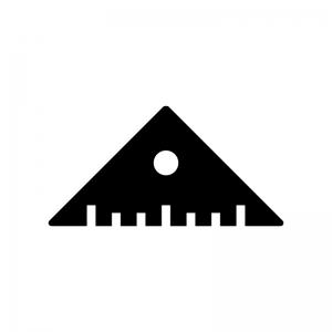 三角定規の白黒シルエットイラスト05
