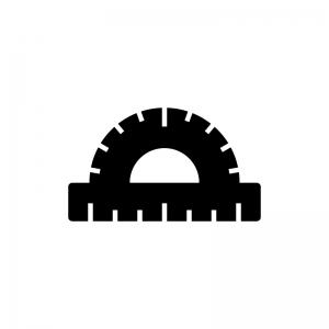 分度器の白黒シルエットイラスト04