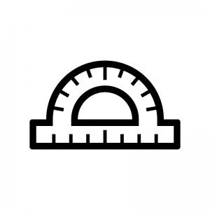 分度器の白黒シルエットイラスト05
