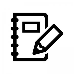 ノートとペンのシルエット05 無料のaipng白黒シルエットイラスト