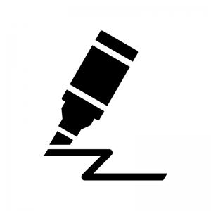 マーカーペンで書いている白黒シルエットイラスト
