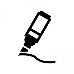 マーカーペンで書いているシルエット02 無料のaipng白黒シルエット
