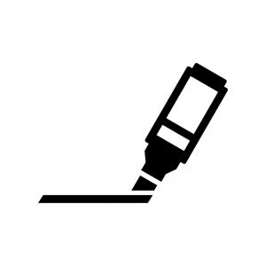 マーカーペンでマーキングの白黒シルエットイラスト02