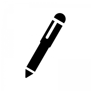 シャーペン・ボールペンの白黒シルエットイラスト05