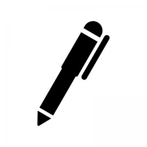 シャーペン・ボールペンの白黒シルエットイラスト06