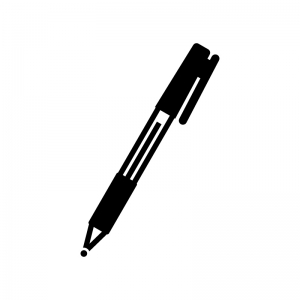 ボールペンの白黒シルエットイラスト