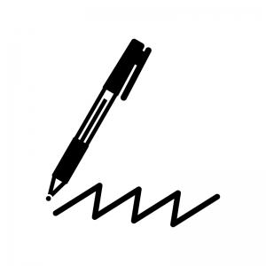 ボールペンの白黒シルエットイラスト02