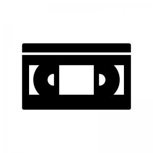 VHSビデオテープの白黒シルエットイラスト